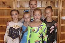 Moderní gymnastky Sokola Písek absolvovaly poslední závod sezony v Táboře. Zleva stojí: Žaneta Ptáčková, Aneta Dubská, Nela Horažďovská a Lucie Marková. Za nimi je Tereza Sajtlová.