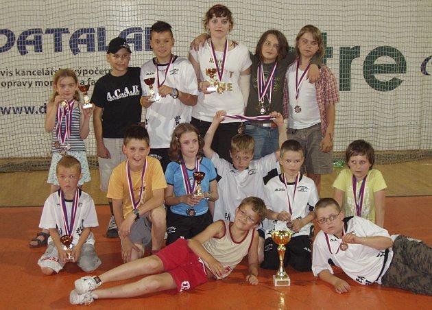 PĚKNÝ ÚSPĚCH. Mladí taekwondisté z Protivína (na snímku) získali pod vedením trenéra Milana Zobala na Májovém turnaji v Praze řadu pěkných umístění, medailí a pohárů.