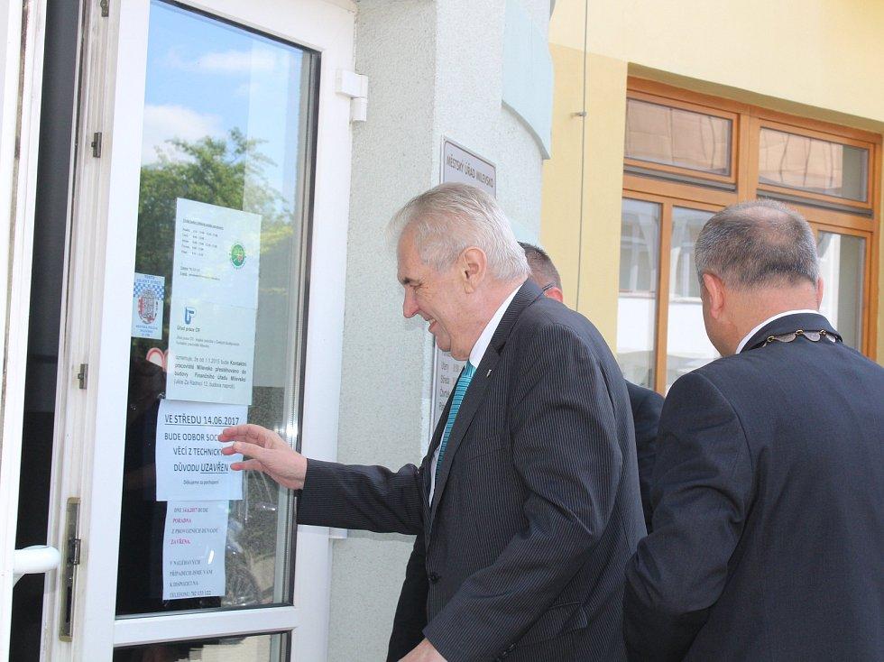 Prezident Miloš Zeman v Milevsku.