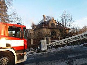 Požár rodinného domu v Čimelicích