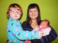 Julie Hazuková, Písek, 7. 10.  2015 v 9.05  hodin, 2850 g, 48 cm. Julinka má dvouletou sestřičku Nikol.