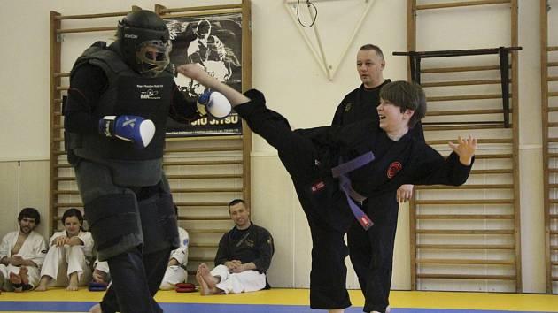 Na snímku Ondřej Polanecký z Milevska (vpravo) provádí závěrečnou techniku po napadení blackmanem.