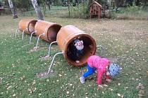 Děti poznávají svět hmyzu. S novými vybavením zahrady jim to jde lépe.