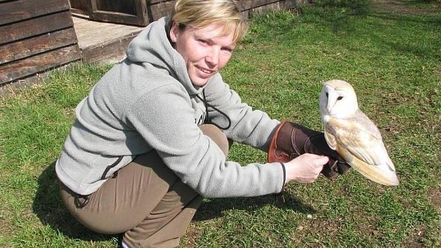 Jiřina Račanová se sovou pálenou Adélou, která žije v Makově asi pět let.