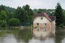 Zatopený dům v Protivíně.