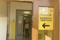 Očkovací centrum v písecké nemocnici.
