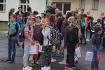 První školní den v Základní škole v Čimelicích.