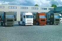 Vizualizace Truck centra v průmyslové zóně v Písku.