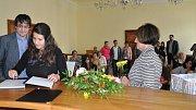 Vítání občánků v obřadní síni radnice v Písku 25. 9. 2017.