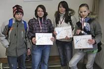 Na snímku jsou úspěšní mladí atleti TJ Chyšky (zleva): Vít Strouhal, Anna Kohoutová, Veronika Vostřáková a Nina Bardová.