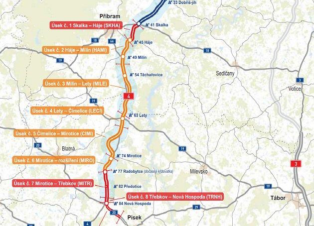 Mapa dálnice D4