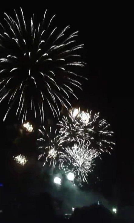 Novoroční ohňostroj v Protivíně.