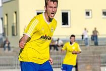 Písecký střelec Martin Voráček se raduje z gólu.