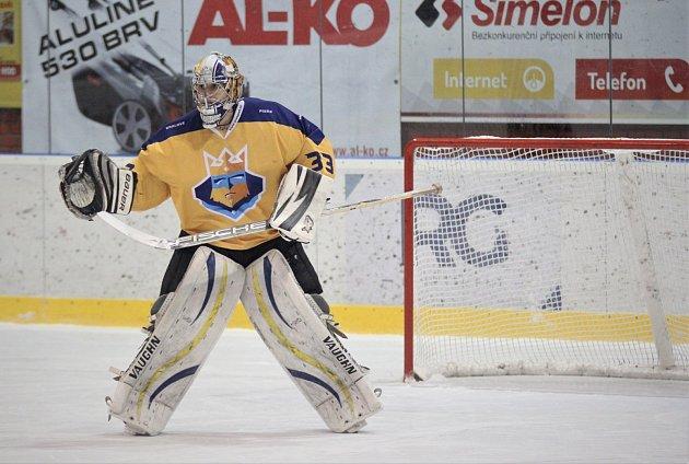 Hokejový brankář IHC Písek Richard Kříž