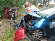 Dopravní nehoda mezi Podolským mostem a Temešvárem.