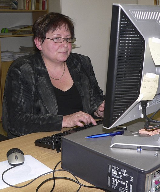 Eva Veselá při on-line rozhovoru v redakci Píseckého deníku.