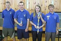 Na snímku je vítězné družstvo SK Casting RT Písek. Zleva stojí: Jiří Marek, Filip Humpál, Kateřina Marková a Filip Hlaváč.