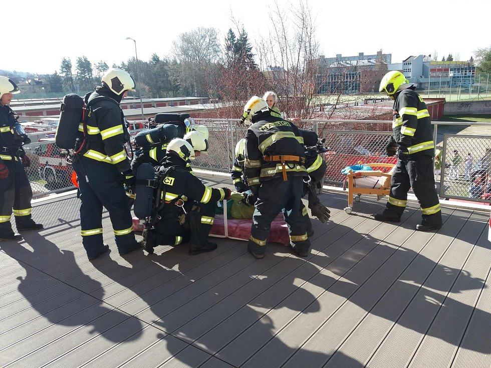 Cvičný požár v Alzheimercentru Prácheň.
