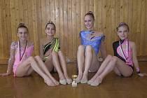 Na snímku ze závodu v Ústí nad Labem jsou moderní gymnastky klubu RG Proactive Milevsko. Zleva sedí: Natálie Křížová, Karolína Kreisslová, Kristýna Souhradová a Vivien Němečková.