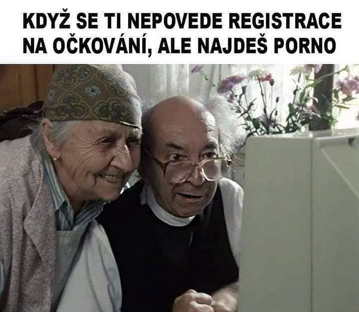 Příchod roku 2021 přinesl další vtipy na téma covidových opatření a aktuálně také na očkování spojené s registrací seniorů.