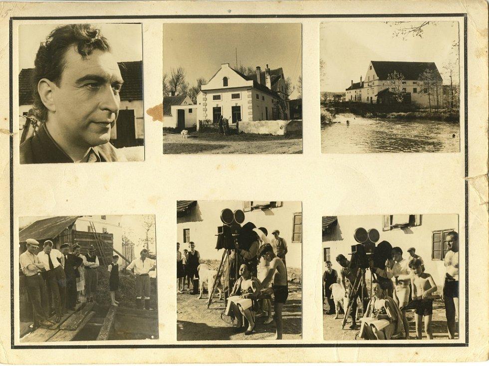 Reportážní fotografie z natáčení filmu Jan Cimbura pořídil 4. června 1941 v Heřmani novinář František Petřík.