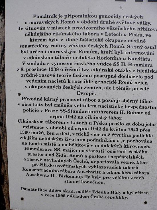 Historii pracovního a později sběrného tábora v Letech přibližuje panel nedaleko pietního místa.