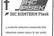PARTE. Oznámení fanoušků hokeje v Písku.