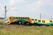 Nehoda na železničním přejezdu u Smrkovic.
