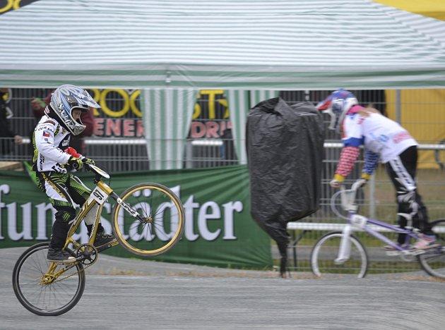 Na snímku je Jan Seidl z BMX Protivín při závodě mistrovství Evropy v Německu.
