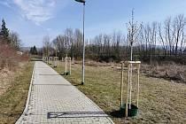 Nový park vznikl u chodníku propojujícího obchodní zónu s Hradištěm.