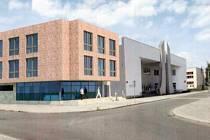 Vizualizace Základní školy Cesta v Písku s plánovanou přístavbou.