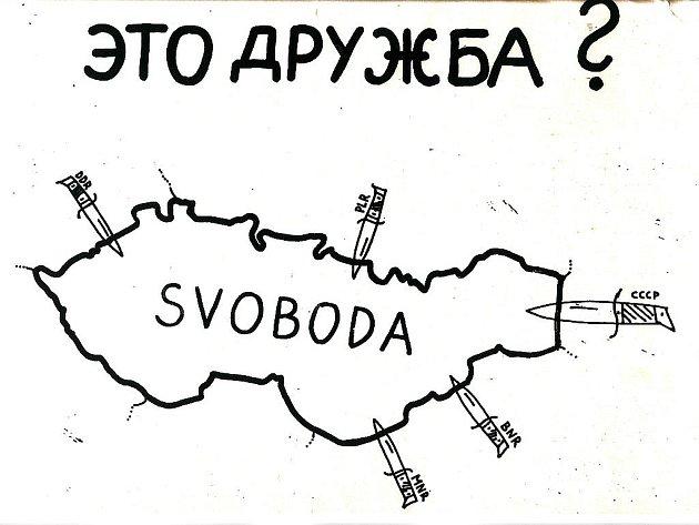 DOKUMENT. Kopie jedné z kreseb, které vznikaly po 21. srpnu 1968.