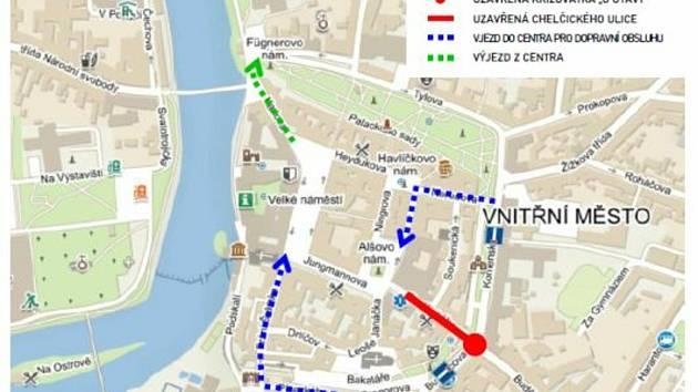 Chelčického ulice i křižovatka u Otavy budou zavřené.