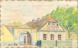 Králova Lhota - kresba z obecní kroniky