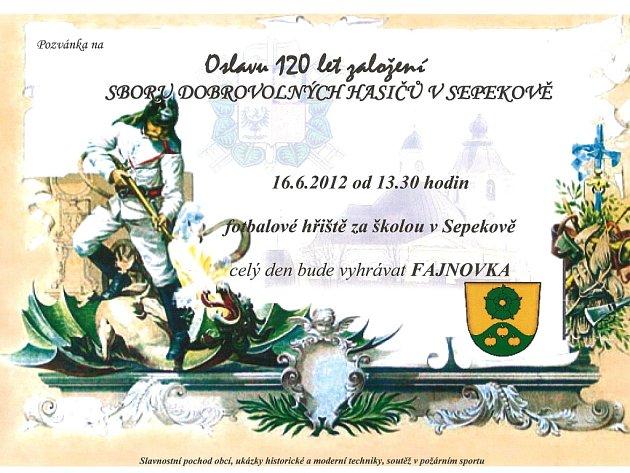 Pozvánka na oslavu 120. výročí SDH Sepekov.