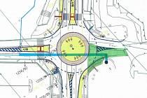 Návrh okružní křižovatky u obchodní zóny v Písku.