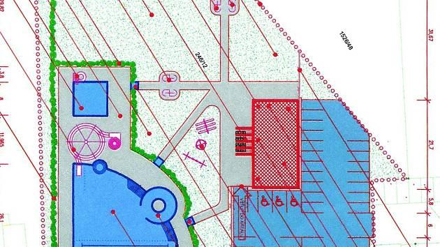 Předběžný nákres plánovaného koupaliště v Protivíně.