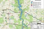 Mapa objízdných tras.