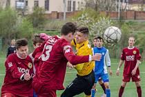 Fotbalisté FC Písek U19 v akci - na snímku z duelu proti Liberci, kdy sahali po překvapení.