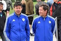 Nový trenér A-týmu FC Písek Rostislav Grossmann (vlevo) s asistentem trenéra U19 Vlastimilem Klusoněm.