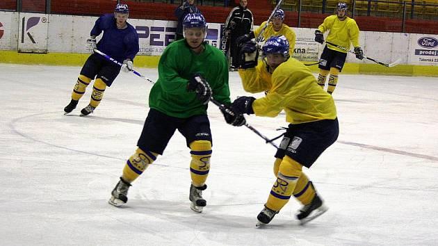 Trénink hokejistů IHC Komterm Písek.