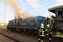Požár lokomotivy v Protivíně.