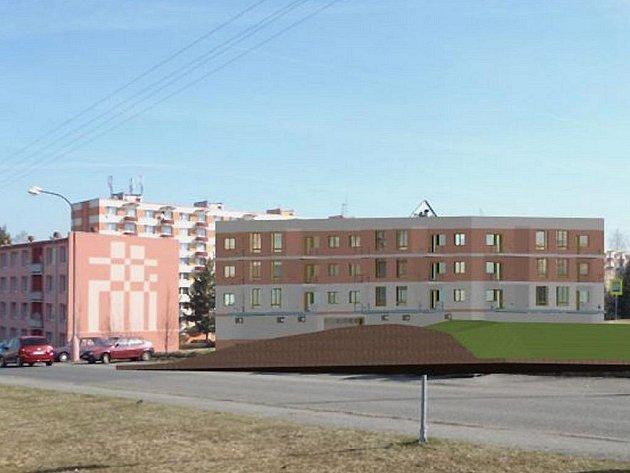Na snímku je vidět, na jakém místě by budova měla stát a jak by měla vypadat.