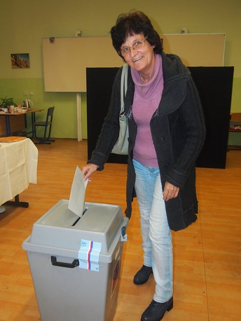 Krajské volby vPísku. Na snímku je Olga Jaroušková.