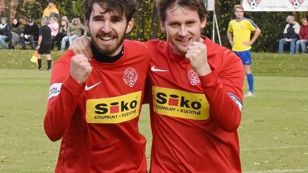 Čimeličtí fotbalisté zleva: Lukáš Hlavín a Václav Hegenbart.