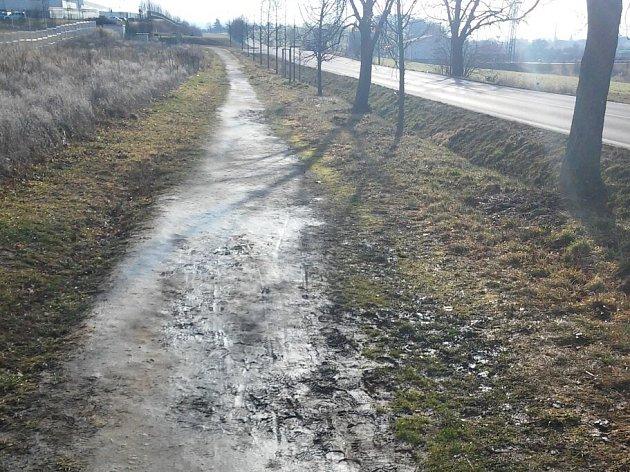 V současné době vede do průmyslové zóny kromě hlavní silnice jen vyšlapaná pěšina.