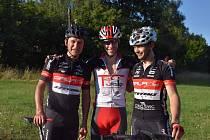 Závodníci Spartaku Písek Galaxy CykloŠvec Stevens (zleva) Oldřich Míka, Lukáš Smola a Tomáš Kudlák.