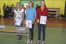 Na snímku jsou úspěšné milevské mladší žákyně (zleva): Karolina Řezáčová, Adéla Záhorová (byla nejlepší) a Hana Váchová při letošním 33. ročníku soutěže Milevské laťky ve skoku vysokém.