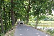 Silnice u rybníka Bochce u Kožlí u Orlíku.