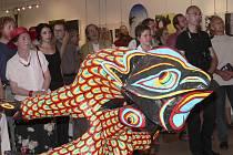 """Z vernisáže výstavy surrealistů """"Svět je strašlivý přírodopis"""", která je k vidění od 7. srpna v Prácheňském muzeu v Písku."""